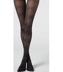 calzedonia diamond pattern 40 denier sheer tights woman black size 3/4