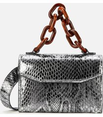 ganni women's metallic mini leather shoulder bag - silver