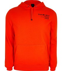 river island mens orange print slim fit hoodie