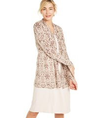 charter club snake-print cashmere cardigan, created for macy's
