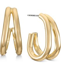 alfani gold-tone double-row open hoop earrings, created for macy's