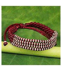 silver accent wristband bracelet, 'burgundy chiang mai quartet' (thailand)