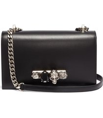'the jewelled satchel' in leather with swarovski crystal knuckle