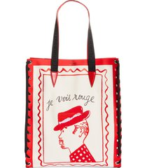 christian louboutin small cabalace le vois canvas & leather tote -