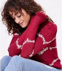 loft floral puff sleeve sweater