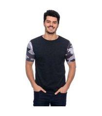 camiseta camouflaged sleeves emporio alex malha grafite