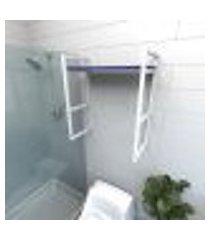 prateleira industrial banheiro aço branco prateleiras 30cm azul escuro modelo indb15azb