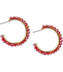 "style & co gold-tone medium colored bead c-hoop earrings, 1.54"", created for macy's"
