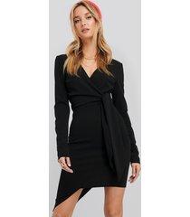 na-kd asymmetric hem mini dress - black