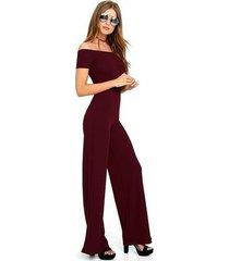 mono de hombro pantalón de mujer mono de manga corta elegante fitness-vino rojo