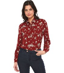 camisa facinelli by mooncity floral vinho - vinho - feminino - poliã©ster - dafiti