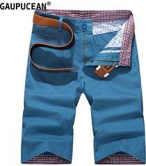 pantalones cortos casual de algodón gaupucean para hombre-azul