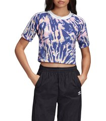women's adidas originals adicolor tie dye crop top, size x-large - white