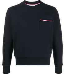 thom browne loopback stripe pocket sweatshirt - blue