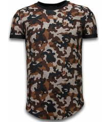 camouflaged fashionable t-shirt - long fit shirt army pattern