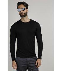 suéter masculino slim em tricô gola careca preto