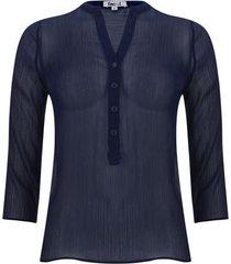 blusa manga 3/4 transparencia color azul, talla 10