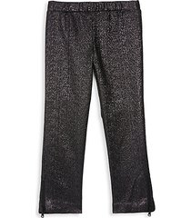 little girl's & girl's glittered zip cuff leggings