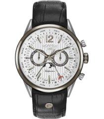 roamer men's 3 hands moonphase 43 mm dress watch in two tone steel case on strap