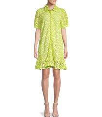 tanya taylor women's aliciana shell-patterned dress - lime - size 0