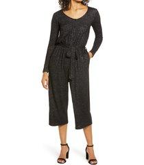 women's bobeau long sleeve brushed sweater knit jumpsuit, size large - black