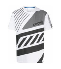 koché camiseta mangas curtas com estampa geométrica - branco