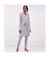 robe curto manga longa com capuz em malha tricô | lov | cinza | m