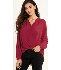 yoins burgundy crossed front v-neck long sleeves blouse