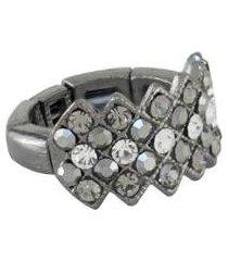 anel armazem rr bijoux cristais grafite - feminino