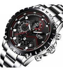 reloj hombre lige 9821 cronografo 3bar pulso acero negro