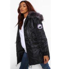 zwangerschap parka jas met faux fur zoom, zwart