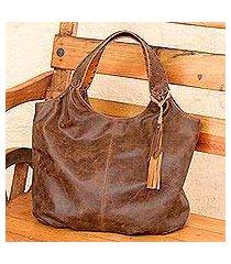 leather hobo handbag, 'honey brown belle' (mexico)