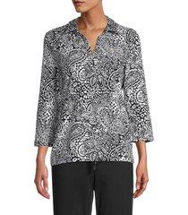 pappagallo women's susie floral-print stretch-cotton blouse - black natural - size l
