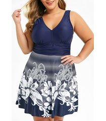 plus size low cut floral skirted one-piece swimsuit