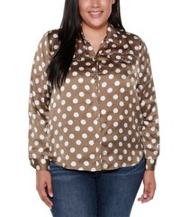 belldini black label plus size polka dot long sleeve collared button up shirt