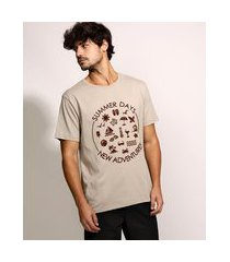 "camiseta masculina summer days"" flocada manga curta gola careca bege"""