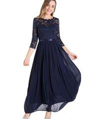 vestido fiesta encaje largo azul nicopoly