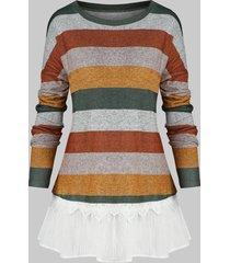 plus size color-blocking striped drop shoulder frilled hem t shirt