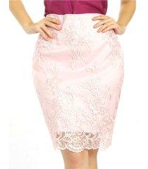 saia miss lady tule bordado rosa claro