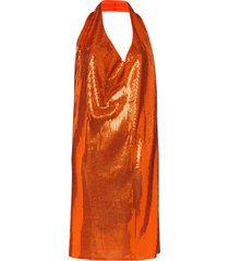 bottega veneta cowl-neck sequinned mini dress - orange