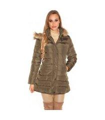 trendy gewatteerde winter mantel met capuchon khaki