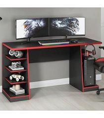 mesa gamer legend ideal para 2 monitores preto/vermelho - notavel
