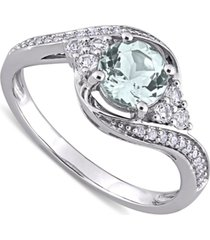 aquamarine (3/4 ct. t.w.), white topaz (1/4 ct. t.w.) & diamond (1/10 ct. t.w.) swirl ring in 10k white gold