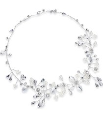 inc silver-tone crystal & imitation pearl floral halo bridal headband, created for macy's