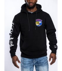 southpole men's front and back leopard applique patch fleece pullover hoodie