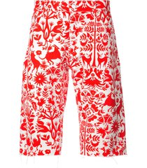 holiday animal print shorts - red