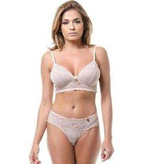 conjunto lingerie renda borboleta conforto casual dia a dia - feminino