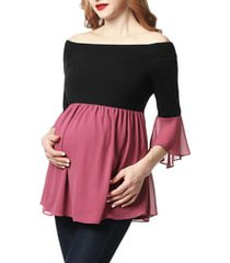 women's kimi and kai kylie off the shoulder maternity top, size 1x - black