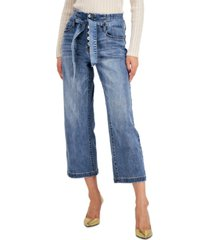 inc international concepts petite button-fly cropped jeans, created for macy's