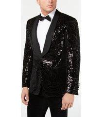 tallia men's slim-fit black sequined velvet dinner jacket